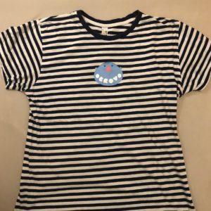 Modré pásikavé tričko s logom Obrovo